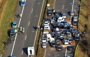 Aerial view showing stuck cars on the highway A31 near Heek, westnorthern Germany on November 19, 2011 after an accident involved 52 cars. Three people died in the accident probably caused by the fog in the November 18 night. AFP PHOTO / CARMEN JASPERSEN++++ GERMANY OUT